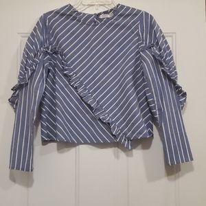 Bershka Blue Striped Ruffle trim LS Blouse- S